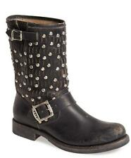New in Box-$428.00 FRYE Jenna Cut Stud Short Moto Black Distressed Boot Size 8
