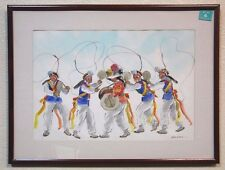 Hoe Won Korean Folk Dancers Watercolor Painting Signed