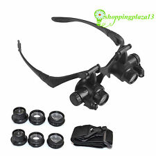 LED Magnifier Double Eye Glasses Loupe Lens Jeweler Watch Repair 10X 15X 20X 25X