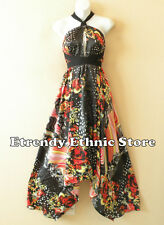 1D103 - Versatile Floral Silk Multi Wear Scarf Long Maxi Halter Dress Maternity