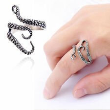 Silver Steampunk Octopus Tentacle Ring Titanium Steel Sea Life Animal Adjustable