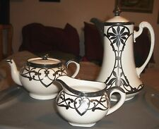 3 PCE LIMOGES FRANCE ART NOUVEAU STERLING SILVER OVERLAY TEAPOT COFFEE POT CREAM