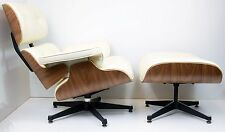 Real Leather Charles Eames Lounge Chair and Stool Walnut and Cream Leather