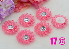 """5pcs DIY Coral Satin Ribbon Flower with Crystal Appliques Craft Supplies Trim 2"""""""