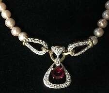 Pearl Necklace With Red Stone Surrounded With Cubic Zirconias