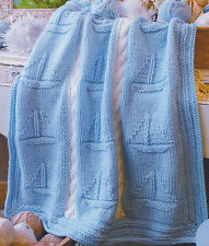 "Chunky Wool Boat/Nautical Baby Blanket ~ Cable Panel~ 36"" X 44"" Knitting Pattern"