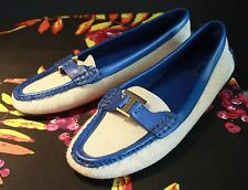 Tory Burch Casey Driver Driving Moccasin Loafer Blue / Beige Size 10 M