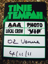 TINIE TEMPAH DISCOVERY WORLD TOUR 2011 WORKING BACKSTAGE SATIN PASS