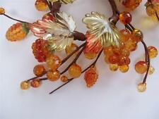 Set 2 NWT Acrylic Gold Orange FALL MIX Berry Faceted Bead Leaf CANDLE RING