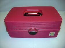 Red Caboodles Large 3 Tier Train Case Jewelry Cosmetic Sewing Storage Organizer