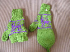 New From Peru Flip Top Mittens Alpaca Llama Design Teen Adult Green #112545