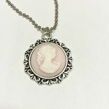 1pcs pink Round Beauty Head Goddess Cameo Charm silver Alloy Lady Necklace #1