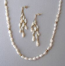 Fresh Water Pearl Yellow Gold Earrings Necklace Set Chain Beaded Post Vintage