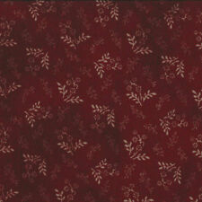 OLD GLORY GATHERINGS~BY 1/2 YD~MODA~1076-19~TAN FLOWERS SPRIGS ON BURGUNDY RED