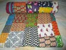 Indian Handmade Quilt Vintage Kantha Bedspread Throw Cotton Blanket Gudari Twin@