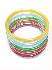 Set of 5 Assorted Colorful Glass Bangle Bracelet Vintage Jewelry