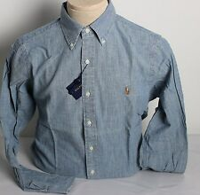 Ralph Lauren Polo Chambray Denim Shirt Mens Medium Multi Colored Pony Blue New