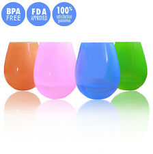 4pcs Silicone Wine Glasses Cup Unbreakable Drinking Cup Flexible Beer Cup