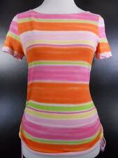 Beautiful Women's Small Ralph Lauren Chaps Multi-Color Stripes SS Blouse w/ Side