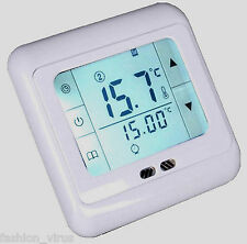 White LCD Touchscreen Programmable Heating Thermostat Controller + Floor Sensor