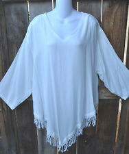 """ART TO WEAR MISSION CANYON FRINGED RUBY TOP IN CLASSIC SOLID WHITE, OS+,56""""B!"""