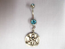 NEW 2 SIDED BEACH SAND DOLLAR PEWTER PENDANT on 14g TURQUOISE BLUE CZ BELLY RING