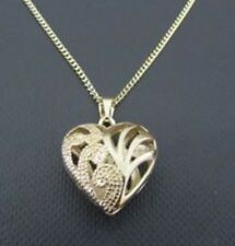 "9ct Yellow Gold Filled Floral Heart Pendent with Cut outs and 18"" Chain PC2039"