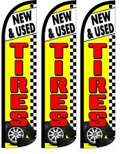 New & Used Tires  YellowWindless Standard Size  Swooper Flag Sign Banner Pk of 3