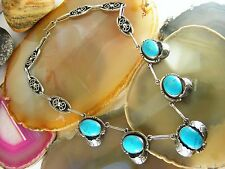 Vintage Mexico Mexican Sterling Silver Leaf Turquoise NECKLACE Signed GFIS