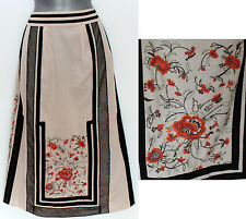 MONSOON Beige Black Embroidered Gorgeous Cotton Skirt UK 12 EU 40