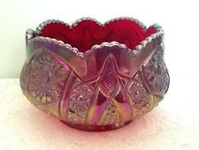 Vintage Indiana Glass Ruby Red Iridescent Heirloom Sunset Carnival Glass Bowl