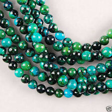 6mm Azurite Chrysocolla Round Gemstone Loose Bead 15''