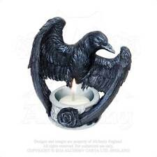 Raven Tea Light Candle holder - Alchemy Gothic Nevermore Raven Crow Black Rose