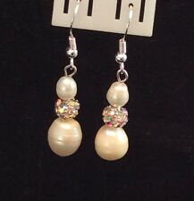Sterling Silver Earrings With Dragon Ball And Cultured Freshwater Baroque Pearls