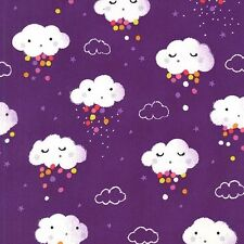 Michael Miller Showery Fabric in Rainbow, purple, rain cloud,cute,baby.By the FQ