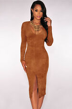 Boldgal Western Party Wear Midi One-Piece Women Fashion Suede Dress