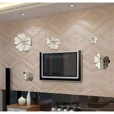 Décor Maison Fleur Miroir Autocollant Chambre Art DIY Mural Mode Amovible Neuf