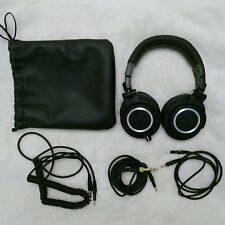 Audio-Technica ATH-M50x Headband Headphones Black w Cables + Case Studio Sound