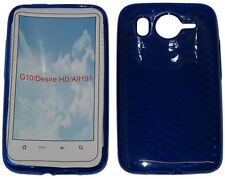 Per HTC Desire HD G10 A9191 PATTERN GEL JELLY CASE Protector Cover Pouch Blu UK
