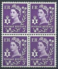 Northern Ireland 1967 Sc# 1 Queen Elizabeth 3p Great Britain GB block 4 MNH