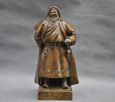 11'' China Pure Bronze Warrior Genghis Khan Statue