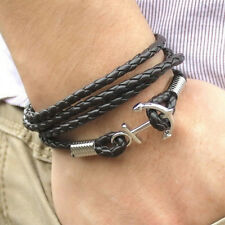 Fashion Multilayer Leather Handmade Rope Wristband Men's Anchor Bracelet Bangle
