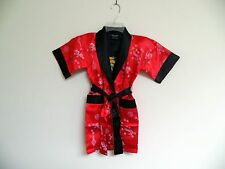 Thai Silk-Blend Child's Robe Kimono Orange/Red Reversible Dragon/Unisex -S (New)