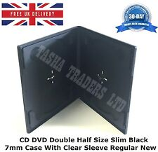 10 CD DVD de doble tamaño medio caso Slim Negro 7mm con funda clara Regular Nuevo