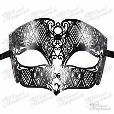 Mens Unisex Filigree Light Metal Mardi Gras Venetian Masquerade Mask [Black]