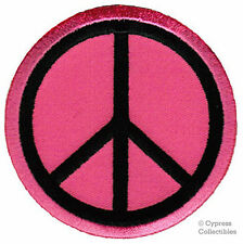 PEACE SIGN iron-on patch WOODSTOCK SUMMER OF LOVE pink EMBROIDERED APPLIQUE