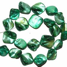 MP1113L Dark Teal Green 16-25mm Diamond Nugget Mother of Pearl Shell Beads 16""