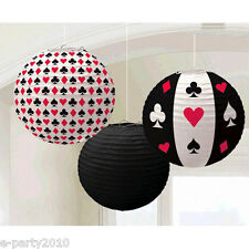 CASINO NIGHT PAPER LANTERNS (3) ~ Birthday Party Supplies Decorations Poker Red