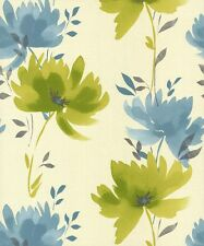 Feature Wall Floral Trail Watercolour Teal - Whitewell Rio Wallpaper 201021