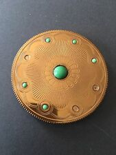 VINTAGE REGENT OF LONDON POWDER COMPACT PUFF MIRROR GOLD GREEN STONE EMBOSSED
